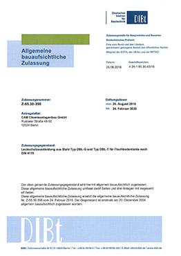 Allgemeine bauaufsichtliche Zulassung für Leckschutzauskleidungen aus Stahl für Flachbodentanks (DIBt-Zulassung) Typ DBL-G und Typ DBL-T für  Flachbodentanks nach DIN 4119