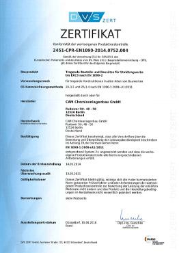 Schweißzertifikat in Übereinstimmung mit EN1090-1, Tabelle B.1 zum Schweißen von Stahltragwerken nach DIN EN 1090-2