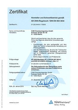 Herstellernachweis für Druckbehälter nach AD 2000-Regelwerk/ DIN EN ISO 3834